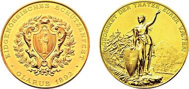 Los 3789: Glarus. 20 Dukaten 1892 auf das Eidgenössische Schützenfest. Taxe: 3.000 Euro.