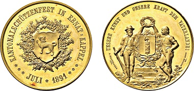 Los 3845: Ebnat-Kappel. 20 Dukaten 1891 auf das Kantonalschützenfest. Taxe: 7.500 Euro.