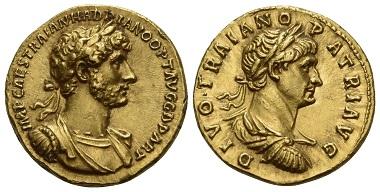 Los 28: Hadrian, 117-134. Aureus, 117. Fast Stempelglanz. Schätzung: 70.000 CHF.