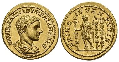 Los 66: Diadumenianus als Caesar, 217-218. Aureus, spät 217. Perfektes Stempelglanz. Schätzung: 150.000 CHF.