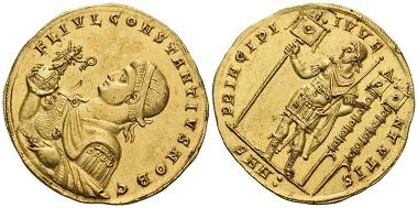 Los 1069: Constantius II. Caesar, 324-327. Medallion zu 4,5 solidi, Juli 325, Nicomedia. Vorzüglich. Schätzung: 600.000 CHF.