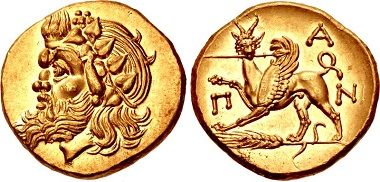 Lot 158: Cimmerian Bosporus. Pantikapaion. Stater, circa 340-325 BC. Choice EF, lustrous. Estimate: $30,000.