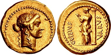 Lot 523: Roman Republic. C. Vibius Varus. Aureus, 42 BC, Rome. Good VF. From the Jonathan P. Rosen Collection. Estimate: $10,000.