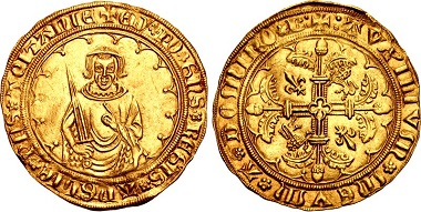 Lot 1143: Plantagenet (Anglo-Gallic). Edward the Black Prince as Prince of Aquitaine, 1362-1372. Hardi d'Or, circa 1368-1371/2, Bordeaux mint. Superb EF. Estimated: $15,000.