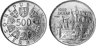 Austrian circulating commemorative coin of 1980 featuring a face value of 500 schillings.
