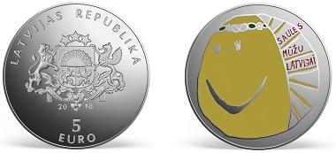 Latvia / 5 Euros / 925 silver / 38.61mm / 31.47g / Obverse Design: Sandra Krastina (graphic design), Janis Strupulis (plaster model). Reverse Design: Elizabete Kandere / Mintage: 4,000.