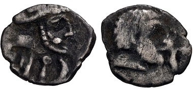 Lot 224: Southern Arabia. Himyar. Uncertain king(s), circa 110 BC–mid 1st century BC. Silver Fraction. Raydan mint. VF, toned. Extremely rare. Estimate: $100.