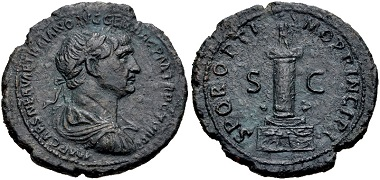 Lot 375: Trajan. AD 98-117. As, circa AD 112/3-114, Rome. VF. From the D. C. Kopen Collection. Estimate: $200.