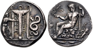 "Lot 587: Greek, Bruttium. Kroton. ""AR Nomos"", circa 425-350 BC. British Museum electrotype (marked [MB] on reverse). From collection of electrotypes and forgeries of Jonathan K. Kern Estimate: $150."