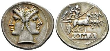 Lot 398: Roman Republic. Quadrigatus, circa 225-214. Good Very Fine. Starting Bid: 300 GBP.