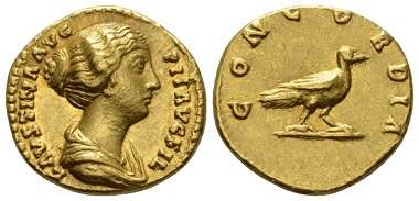 Lot 592: Roman Imperial. Faustina junior. Aureus, circa 147-150. About Extremely Fine. Starting Bid: 1,800 GBP.