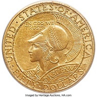1915-S Panama-Pacific Round Fifty Dollar Gold Piece. Rare CAC-Approved MS66.