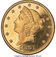 1883 Liberty Double Eagle, PR64 Deep Cameo. Proof-Only Issue, 92 Pieces Struck. Classic Gold Rarity, Ex: J.F. Bell.