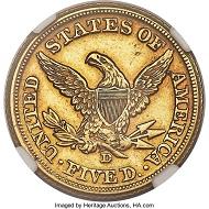1861-D $5 AU55 NGC. Variety 46-JJ.
