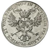 Sachsen. Friedrich August II., 1733-1763. Reichstaler 1740, Dresden. Fast Stempelglanz, herrlich ausgeprägtes Prachtexemplar.