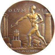 Karl Goetz. Große Bronzegussmedaille 1936. Olymp. Spiele Berlin. Vorzüglich.