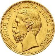 Reuß, Jüngere Linie. Heinrich XIV., 1867-1913. 20 Mark 1881 A. Vorzüglich/Stempelglanz.