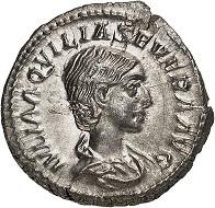 Nr. 167. Aquilia Severa, 2. Gemahlin des Elagabal. Denar. Vorzüglich. Taxe: 100 Euro.