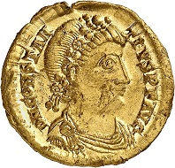 No. 340. Constantinus III, 421. Solidus, Ravenna. Extremely rare. Extremely fine to FDC. Estimate: 20,000 euros.