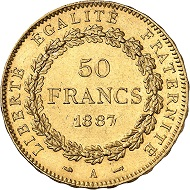 No. 699. France. 50 Francs 1887, Paris. Very rare date. Extremely fine to FDC. Estimate: 5,000 euros.