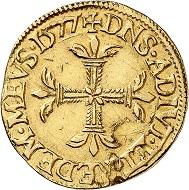 Nr. 727. Frankreich. Dombes. Louis II. de Bourbon-Montpensier, 1560-1582. Écu d'or (demi Pistole) 1577. Sehr selten. Sehr schön bis vorzüglich. Taxe: 4.000 Euro.