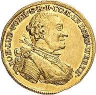 Nr. 1352. Löwenstein-Wertheim-Virneburg. Johann Ludwig Vollrath, 1730-1790. Dukat 1769, Wertheim. Äußerst selten. Vorzüglich. Taxe: 15.000 Euro.