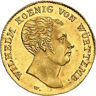 No. 1669. Württemberg. William I, 1816-1864. Ducat 1818. Very rare. Extremely fine to FDC. Estimate: 8,000 euros.
