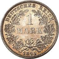 Nr. 1788. Deutsches Kaiserreich. 1 Mark 1894 G. In dieser Erhaltung selten! Stempelglanz. Taxe: 1.200 Euro.