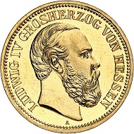 Nr. 2213. Deutsches Kaiserreich. Hessen. Ludwig IV., 1877-1892. 20 Mark 1892. Prachtexemplar von schönster Erhaltung. Polierte Platte. Taxe: 10.000 Euro.