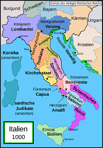 Die politische Lage in Italien um das Jahr 1000 n. Chr. Quelle: Bamse / CC BY-SA 3.0