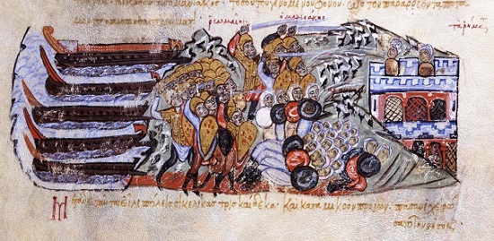"The Byzantines arrive in Sicily under the lead of George Maniakes and beat the Arabs. From a manuscript of the ""Synopsis of Histories"" by John Skylitzes (13th century). Skylitzes Matritensis (Biblioteca Nacional de Espana), fol. 212 r."