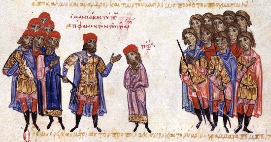 "George Maniakes publicly reproaches Admiral Stephen. From a manuscript of the ""Synopsis of Histories"" by John Skylitzes (13th century). Skylitzes Matritensis (Biblioteca Nacional de Espana), fol. 213v top."