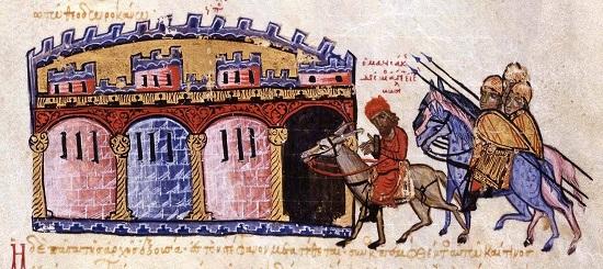 """Georgios Maniakes wird als Gefangener nach Konstantinopel zurückgebracht. Aus einer Handschrift der """"Kaisergeschichte"""" des Johannes Skylitzes (13. Jh.). Skylitzes Matritensis (Biblioteca Nacional de España), Fol. 213v unten."""