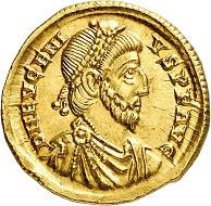 Nr. 1415: Eugenius, 392-394. Solidus, Treveri. Sehr selten. Gutes vorzüglich. Taxe: 30.000,- Euro. Zuschlag: 65.000,- Euro.