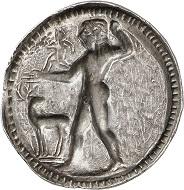 No. 126: Caulonia (Bruttium). Stater, 525-500. From John Pierpont Morgan collection. Extremely fine. Estimate: 10,000 euros. Hammer price: 16,000 euros.