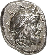 """No. 437: Cyzicus (Mysia). Pharnabazus, Satrap 413-373. Tetradrachm, after 398. From the collection of a """"Geschichtsfreund"""" and from the Hans von Aulock collection. Very rare. Very fine. Estimate: 25,000 euros. Hammer price: 50,000 euros."""