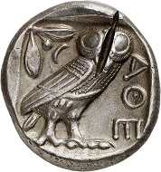 """No. 548: Sardis (Lydia). Cyrus the Younger, + 401. Tetradrachm after Athenian model, around 407-404. On the cheek of the goddess Athena beardless portrait of Cyrus the Younger with tiara. From the collection of a """"Geschichtsfreund"""". Possibly unique. Very fine +. Estimate: 12,500 euros. Hammer price: 18,000 euros."""