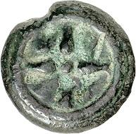 Nr. 37: Unbekannte Münzstätte (Etruria). AE-Sextans, 3. Jh. v. Chr. Aus Sammlung Link. Sehr selten. Sehr schön. Taxe: 200,- Euro. Zuschlag: 2.200,- Euro.