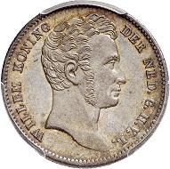 Nr. 2278: Niederländisch-Indien. Wilhelm I., 1815-1840. 1/2 Gulden, 1834, Utrecht. PCGS MS 63. Selten. Gutes vorzüglich. Taxe: 75,- Euro. Zuschlag: 1.100,- Euro.