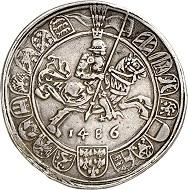 Nr. 2510: RDR. Sigismund der Münzreiche, 1446-1496. Guldiner 1486, Hall. Sehr selten. Henkelspur. Gutes sehr schön. Taxe: 3.000,- Euro. Zuschlag: 10.000,- Euro.