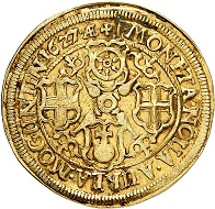 Nr. 3795: Mainz. Georg Friedrich von Greiffenklau zu Vollraths, 1626-1629. Goldgulden 1627, Mainz. Äußerst selten. Sehr schön. Taxe: 3.000,- Euro. Zuschlag: 12.500,- Euro.