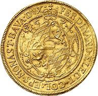 No. 3933: Münster. Ferdinand von Bayern, 1612-1650. 5 ducats 1638, Münster. Golden off-strike made with dies of the reichstaler. Extremely rare. Nearly extremely fine. Estimate: 40,000 euros. Hammer price: 75,000 euros.