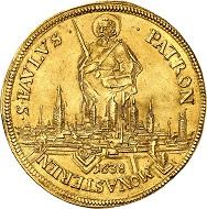 Nr. 3933: Münster. Ferdinand von Bayern, 1612-1650. 5 Dukaten 1638, Münster. Goldabschlag von den Stempeln des Reichstalers. Äußerst selten. Fast vorzüglich. Taxe: 40.000,- Euro. Zuschlag: 75.000,- Euro.