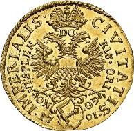 Nr. 6159: Lübeck. 2 Dukaten 1701. Sehr selten. Vorzüglich bis Stempelglanz. Taxe: 7.500,- Euro. Zuschlag: 17.000,- Euro.
