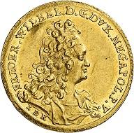 No. 6192: Mecklenburg. Friedrich Wilhelm, 1692-1713. Ducat 1703, Schwerin. Very rare. Extremely fine / Extremely fine to FDC. Estimate: 7,500 euros. Hammer price: 34,000 euros.
