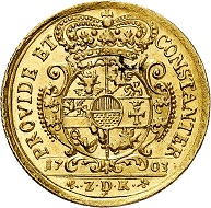 Nr. 6192: Mecklenburg. Friedrich Wilhelm, 1692-1713. Dukat 1703, Schwerin. Sehr selten. Vorzüglich / Vorzüglich bis Stempelglanz. Taxe: 7.500,- Euro. Zuschlag: 34.000,- Euro.
