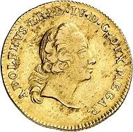 Nr. 6221: Mecklenburg. Adolf Friedrich IV., 1752-1794. 5 Taler (Pistole), 1754, Neustrelitz. Sehr selten. Sehr schön bis vorzüglich. Taxe: 7.500,- Euro. Zuschlag: 42.000,- Euro.