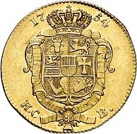 No. 6221: Mecklenburg. Adolf Friedrich IV, 1752-1794. 5 taler (pistole), 1754, Neustrelitz. Very rare. Very fine to extremely fine. Estimate: 7,500 euros. Hammer price: 42,000 euros.