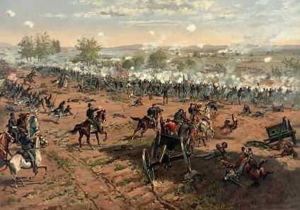 Adam Cuerden. Battle of Gettysburg. Lithographie 1887.