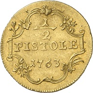 A half pistol of 1763 from the Bundesbank Collection. Photo: Deutsche Bundesbank, Numismatische Sammlung.